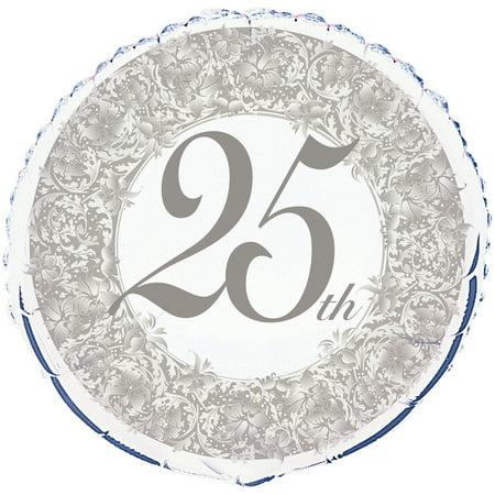 25th Anniversary Balloon (Foil 25th Anniversary Balloon, 18 in,)
