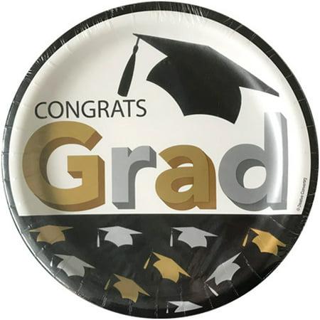 Graduation 'Grad Caps' Large Paper Plates (8ct) - Paper Graduation Cap