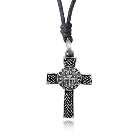 New Celtic Cross Silver Pewter Charm Necklace Pendant Jewelry With Cotton (New Celtic Stone Cross)