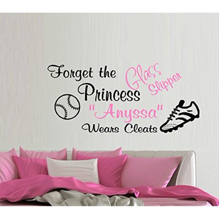 FORGET THE Glass Slipper, PRINCESS (NAME) Wears cleats ~ WALL Decal , 13