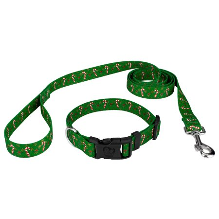 Country Brook Petz | Candy Cane Christmas Deluxe Dog Collar & Leash