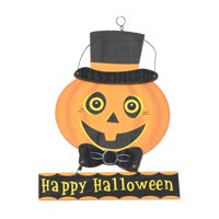 Way To Celebrate Halloween Jack-O-Lantern with Top Hat Hanging Sign