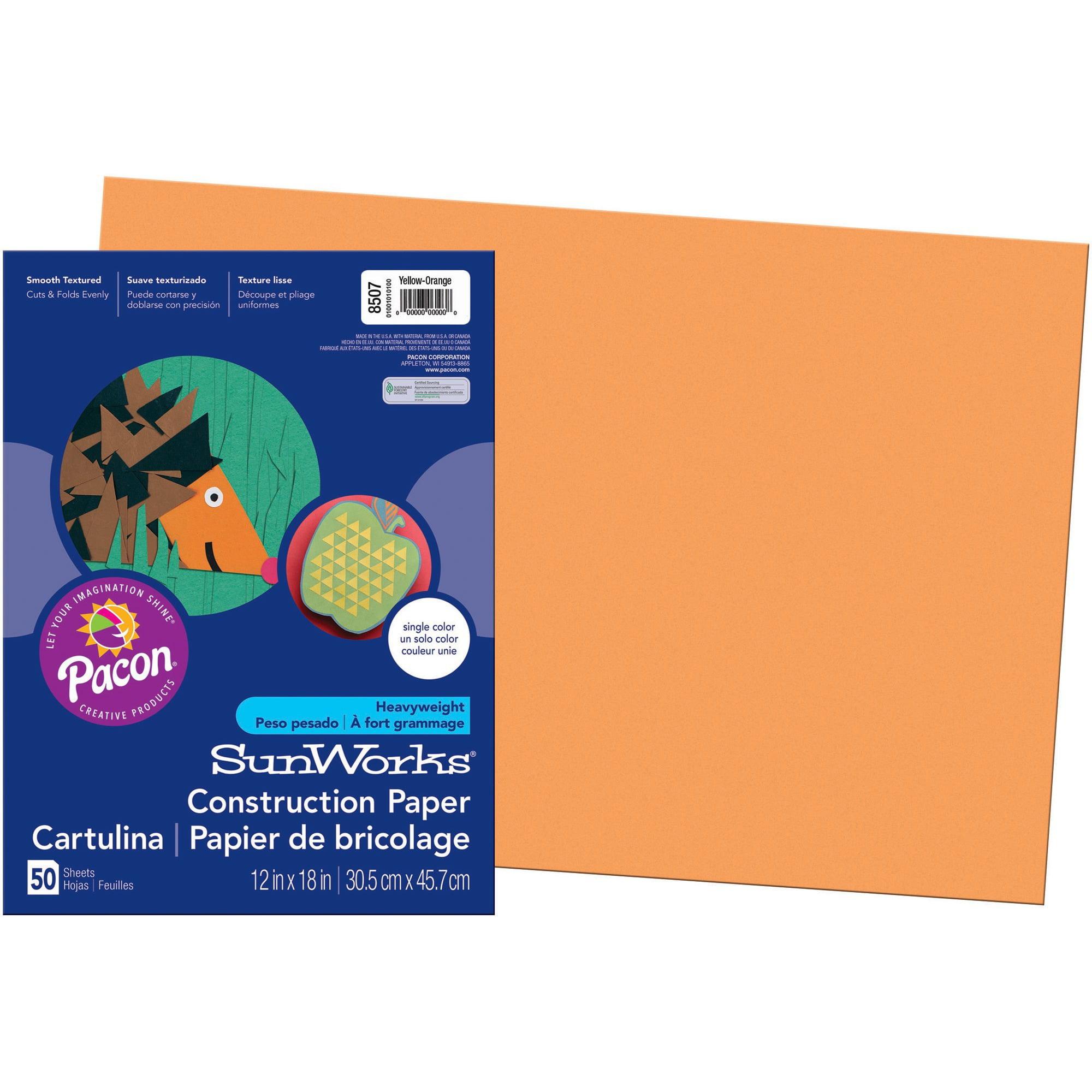 SunWorks, PAC8507, Construction Paper, 50 / Pack, Yellow-orange
