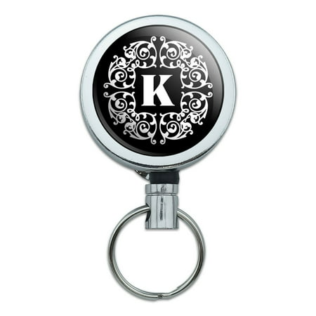- Letter K Initial Black White Scrolls Retractable Belt Clip Badge Key Holder
