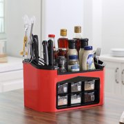 Knife shelf Seasoning Container Spice Pots Box Storage Organizer for Tableware Cutlery Condiment Jar Knives Holder - Red