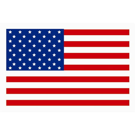 USA Flag Stickers (3 x 2 inch, 300 Stickers per Roll, Red, White & Blue) (Jack Flag Stickers)