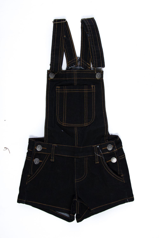Girls Kids Front Pocket Side Button Suspender Shorts Overall JGSHO-4-Denim Black