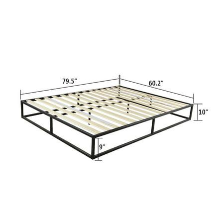 UBesGoo Queen Size Arched Wood Slats Metal Bed Frame Platform Mattress
