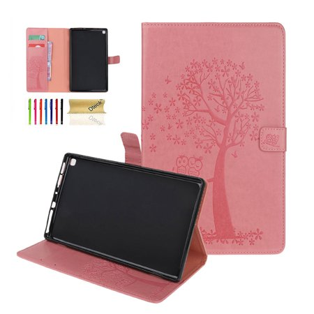 Kindle Fire HD 8 Tablet Case, Dteck Embossed Tree & Owl Premium PU Leather Case Flip Folio Stand Magnetic Cover with Card Holder/Pocket For Amazon Fire HD 8 inch, Pink ()