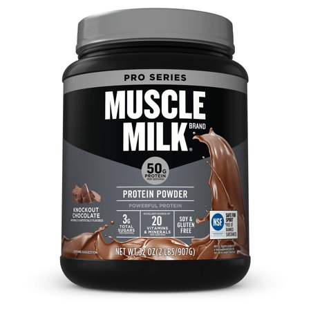 Muscle Milk Pro Series Protein Powder, Knockout Chocolate, 50g Protein, 2