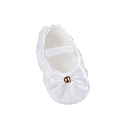 Nicesee Newborn Infant Baby Girl Bowknot Soft Sole Crib Shoes Prewalker 0-18 Months (Off White Girls Dress Shoes)