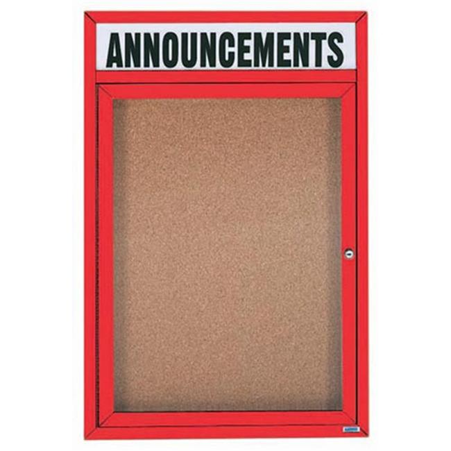 Aarco Products DCC2418RHIR 1-Door Illuminated Enclosed Bulletin Board with Header - Red