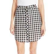 Jolt NEW Women's Shirt Tail Hem Gingham Skirt Black White Size Medium M