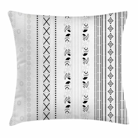 Henna Throw Pillow Cushion Cover, Vertical Stripes with Geometric Floral Old Fashioned Motifs Rangoli Inspired Design, Decorative Square Accent Pillow Case, 18 X 18 Inches, Black White, by