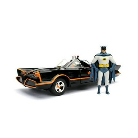 JADA METALS 1:24 W/B - BATMAN CLASSIC TV SERIES (1966) - BATMOBILE & BATMAN (ROBIN IN CAR) 98259