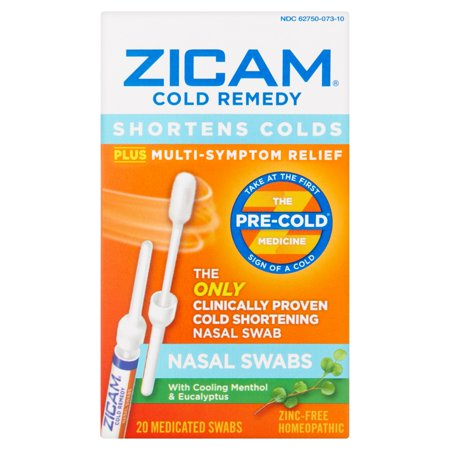 Zicam Fast Acting Cold  Allergy  And Flu Relief Nasal Swabs Multi Symptom Relief All Natural Cold Medicine Remedy  20 Count