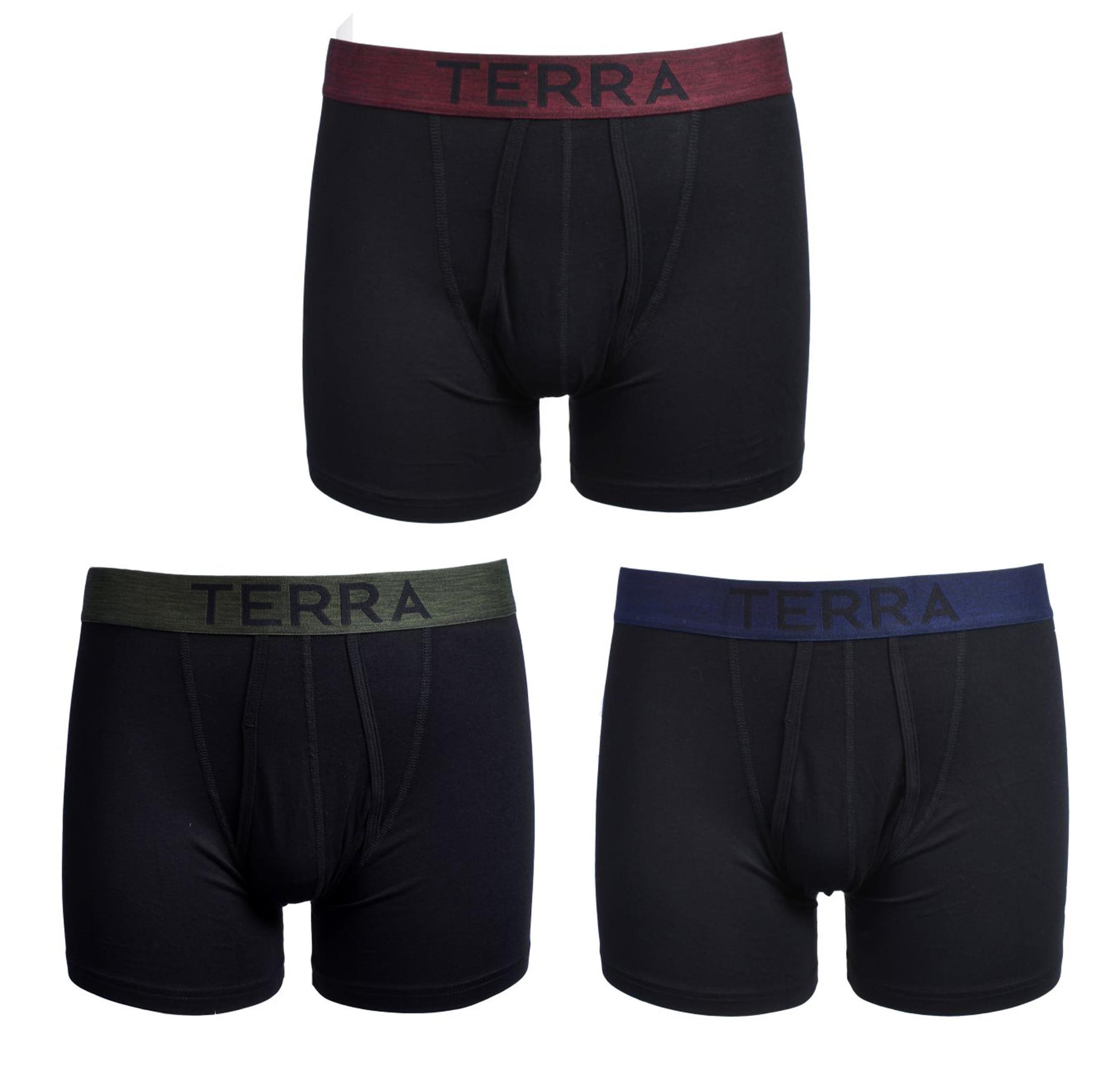 1a4cc2f7ecb9 Terra - Men's Boxer Briefs Assorted Mens Underwear with Cotton Classic  Stretch , 3-Pack by Terra - Walmart.com