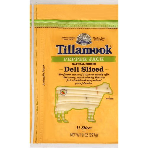 Tillamook Deli Sliced Pepper Jack Natural Cheese Slices, 11 ct, 8 oz