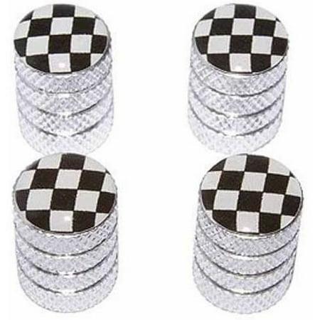 Checkered Flag Racing Tire Rim Wheel Aluminum Valve Stem Caps, Multiple - Checkered Racing