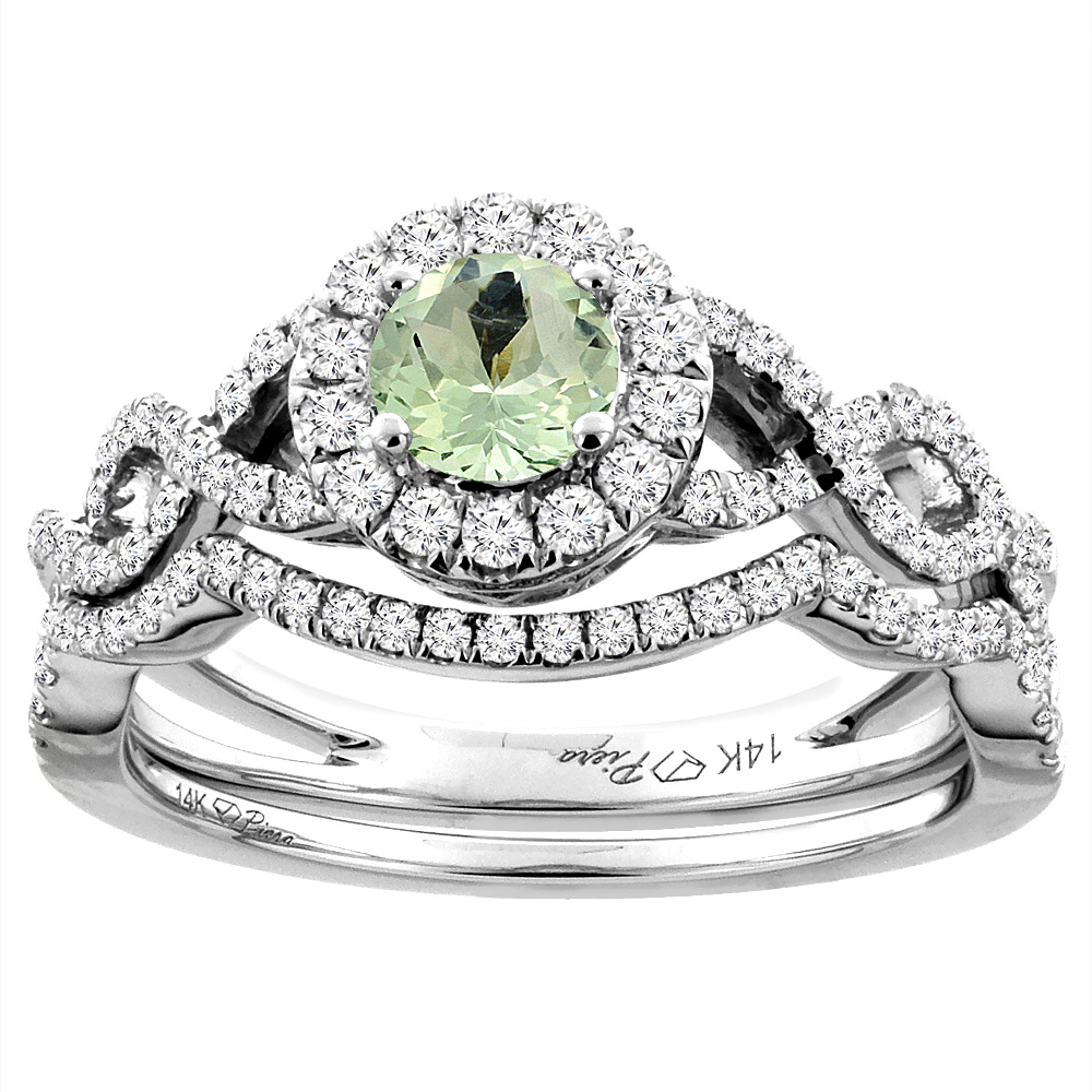 14K White Gold Diamond Natural Green Amethyst Halo Engagement Bridal Ring Set Round 5 mm, size 5 by Gabriella Gold