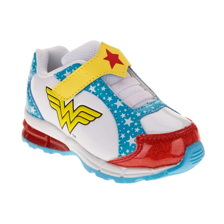 Wonder Woman Toddler Girls' Glitter Athletic Sneakers - Blue Glitter Shoes For Girls