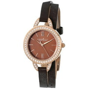 Caravelle New York Brown Leather Double Wrap Ladies Watch 44L130