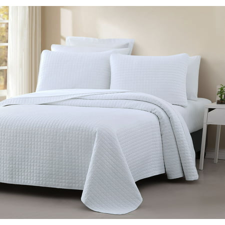 Cozy Beddings Quilted Coverlet Set Attitude Collection Bedspread PREWASHED Cover Set, Square Stitched
