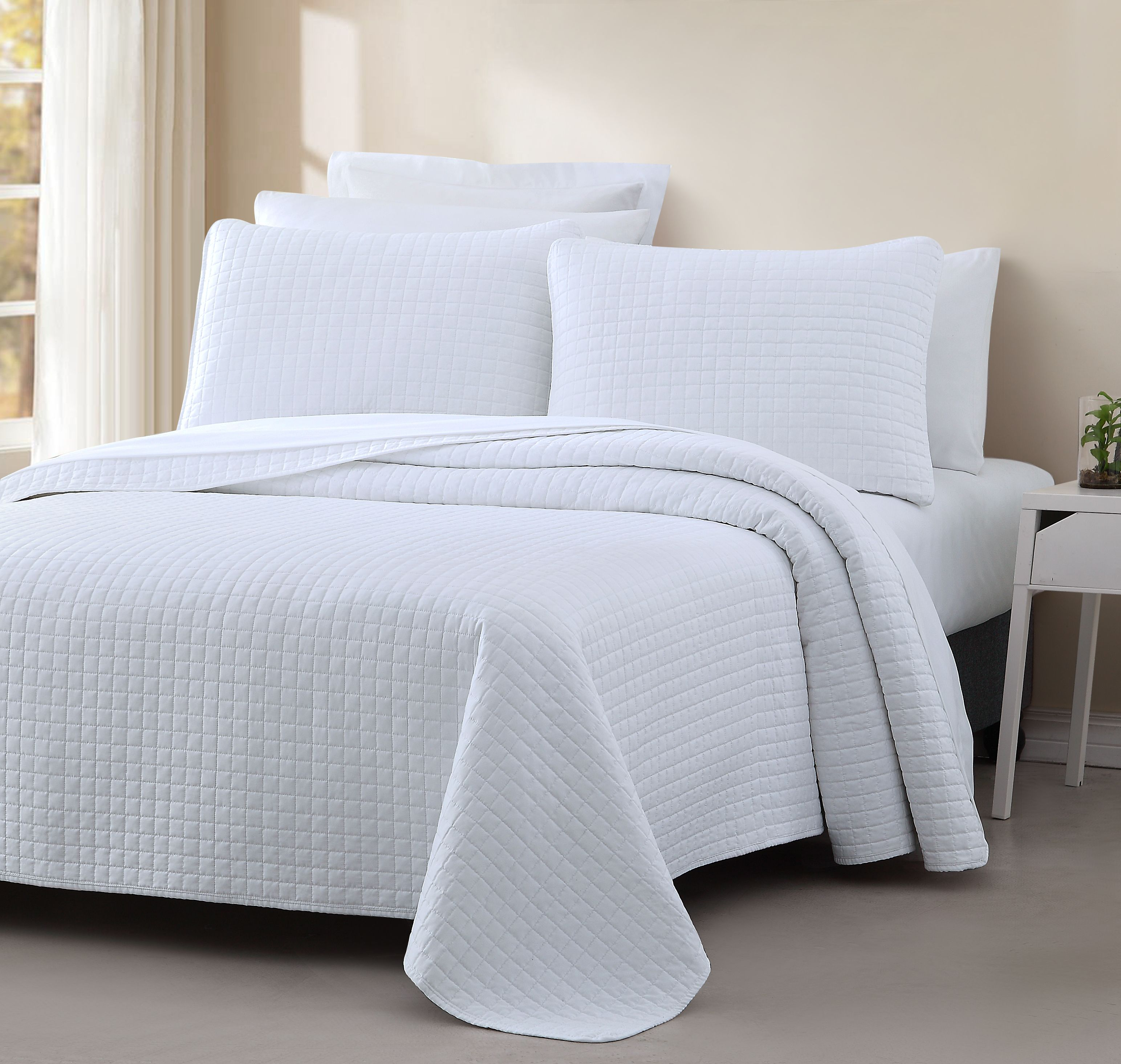 Cozy Beddings Quilted Coverlet Set Attitude Collection Bedspread PREWASHED Cover Set, Square Stitched Design