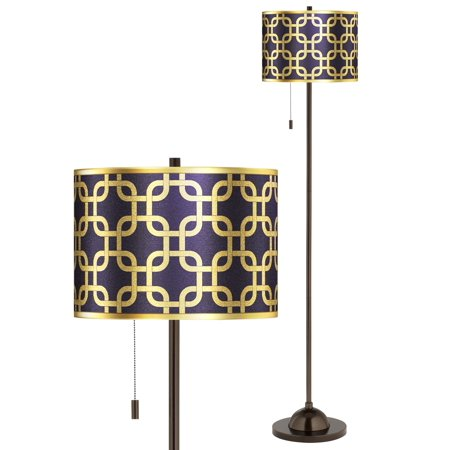 Giclee Gallery Lattice Gold Metallic Giclee Glow Bronze Club Floor Lamp Petite Club Floor Lamp