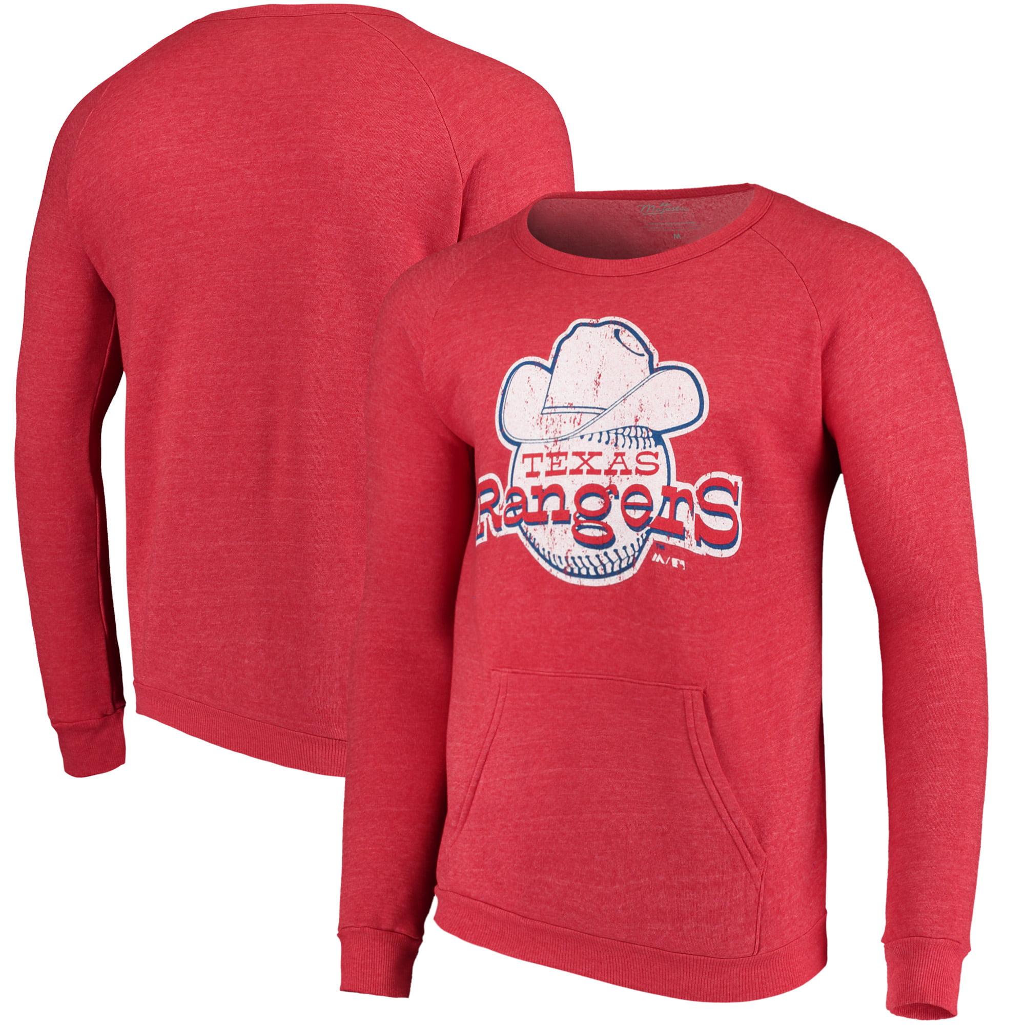 Texas Rangers Majestic Threads Cooperstown Collection Tri-Blend Pocket Fleece Sweatshirt - Red