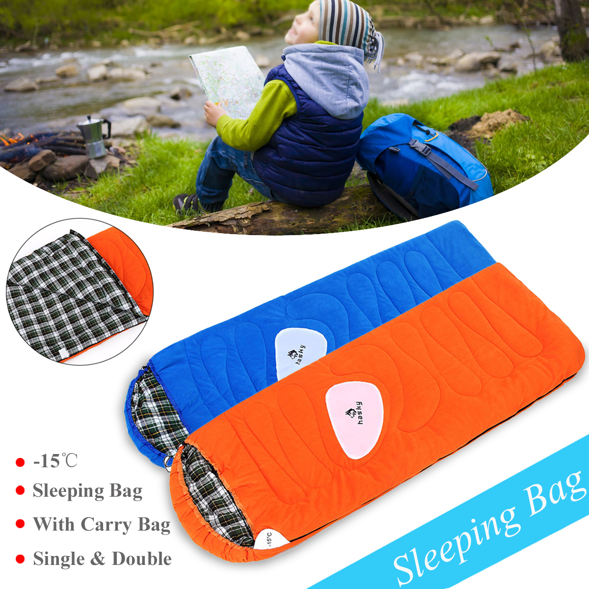 Outdoor Waterproof Camping Hiking Sleeping Bag Portable Folding Travel Adult Sleep Bag Warm And Soft