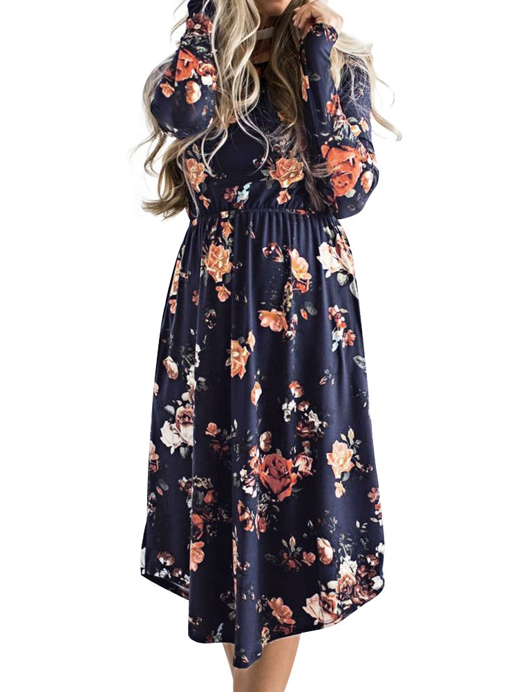 Nlife Women Long Sleeve Floral Printed Round Neck Midi Dress