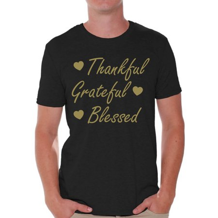 Awkward Styles Thankful Grateful Blessed Christmas Shirt Holiday Top Christmas Tshirts for Men Thanksgiving Holiday Shirt Thankful Grateful Blessed Men's Holiday Tee Xmas Gifts Mens Thanksgiving - Adult Holidays For Men