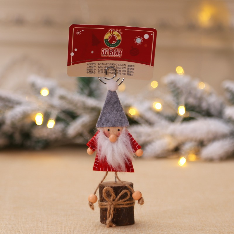 Handfly Christmas Gnome Wood Place Card Holder Stand with Swirl Wire Clip Clasp for Displaying Memo Table Number Cards Picture Name Sign Photo