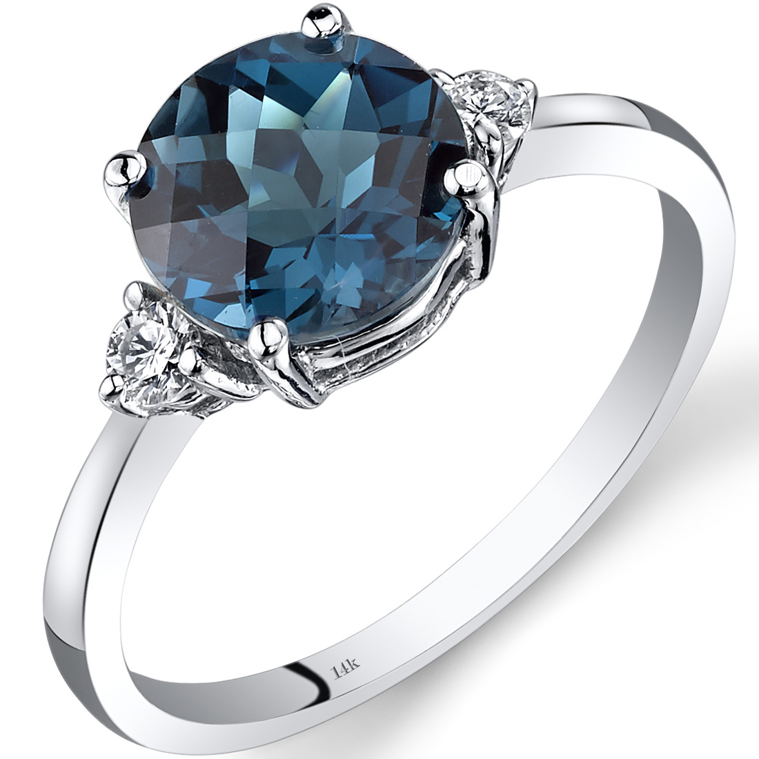 Peora 2.25 Carat T.G.W. Round-Cut London Blue Topaz and Diamond Accent 14kt White Gold Ring Size 7 by
