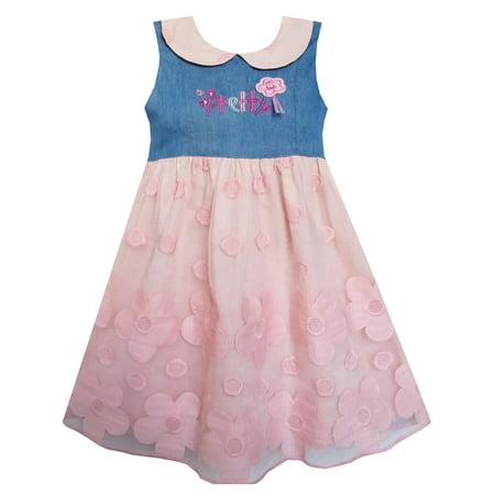 Pretty School Girls (Girls Dress Pretty Print Pink Flower Tulle Lace Hemline)