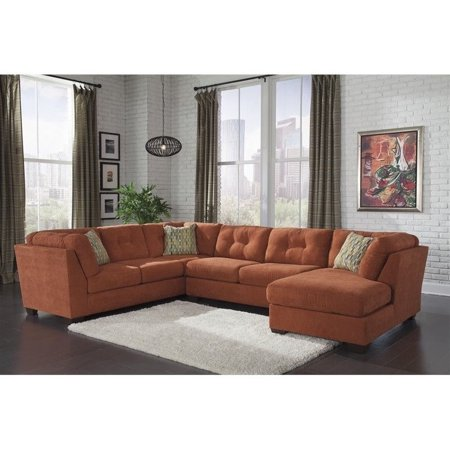 Enjoyable Ashley Delta City 3 Piece Right Sectional In Rust Beatyapartments Chair Design Images Beatyapartmentscom