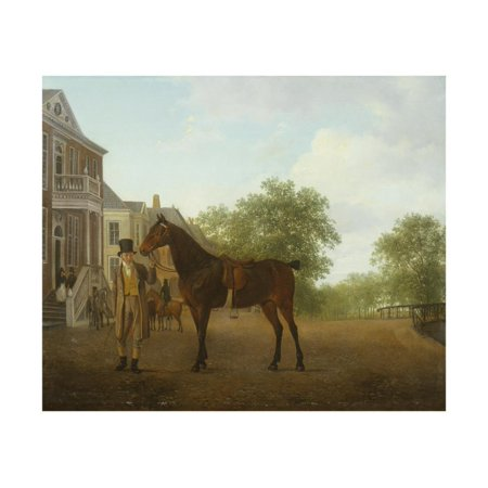 Gentleman Holding a Saddled Horse in a Street by a Canal, 18th-19th Century Print Wall Art By Jacques-Laurent (365 Canal Street)