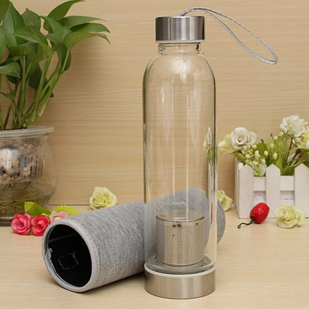 550ml BPA Free Glass Sport Water Bottle with Tea Filter Infuser Protective