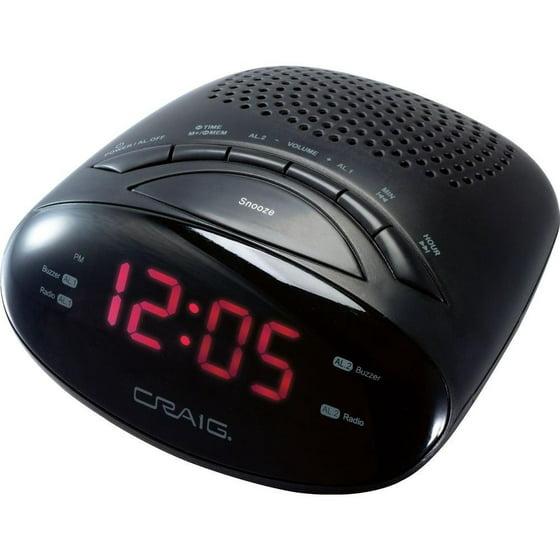 Craig Cr45329b Dual Alarm Clock Digital Pll Amfm Radio Walmart