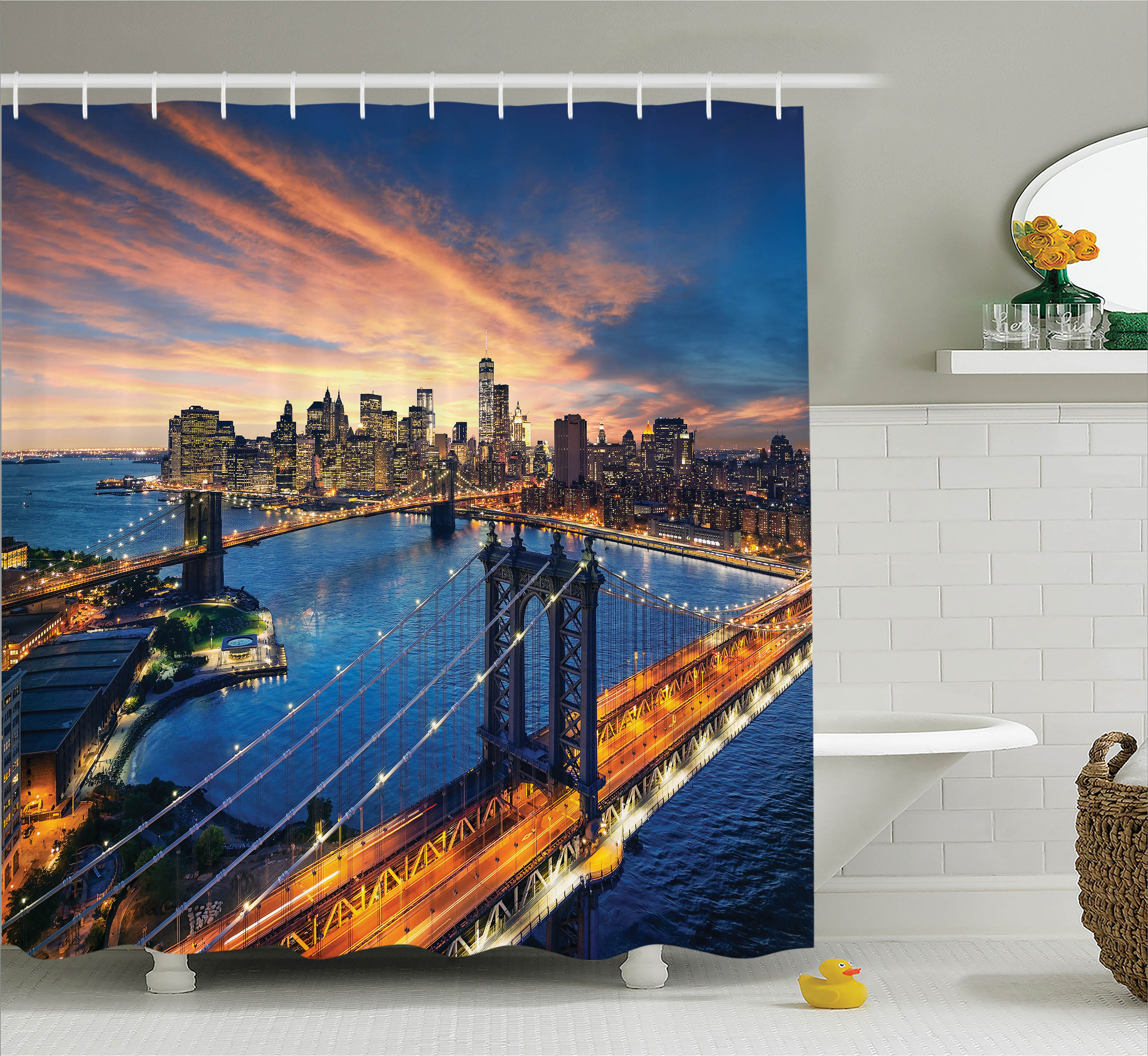 Apartment Decor Shower Curtain, American City Sunset Over Manhattan and Brooklyn Bridge Cityscape Print, Fabric Bathroom Set with Hooks, 69W X 75L Inches Long, Gold Navy, by Ambesonne
