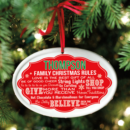 Personalized Christmas Rules Oval Ornament