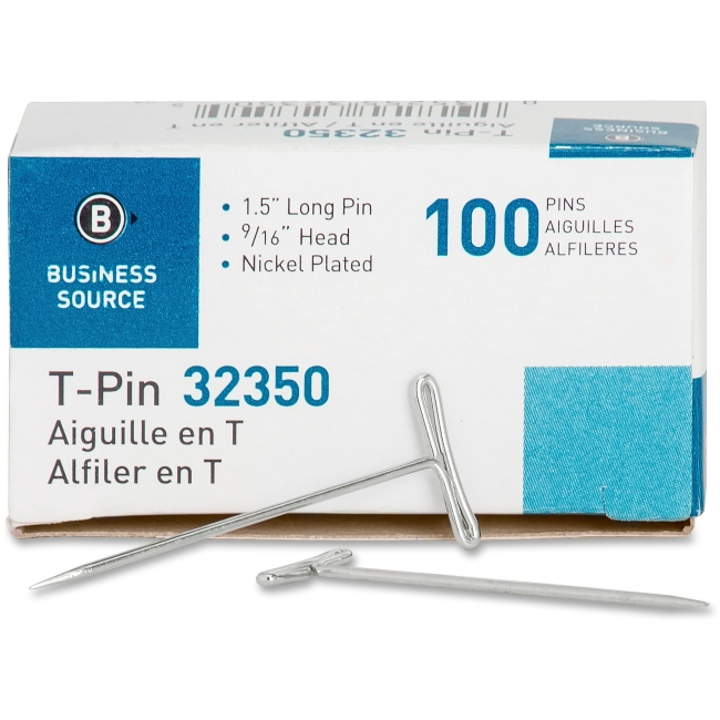 Business Source T-Pins, 9/16'' Head Width, 1-1/2'' Length, 100 per Box, Silver (Set of 6)