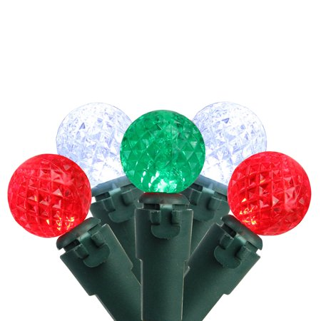 """Green Led Replacement (Set of 50 Red, Pure White & Green LED G12 Berry Christmas Lights 4"""" Spacing - Green Wire )"""
