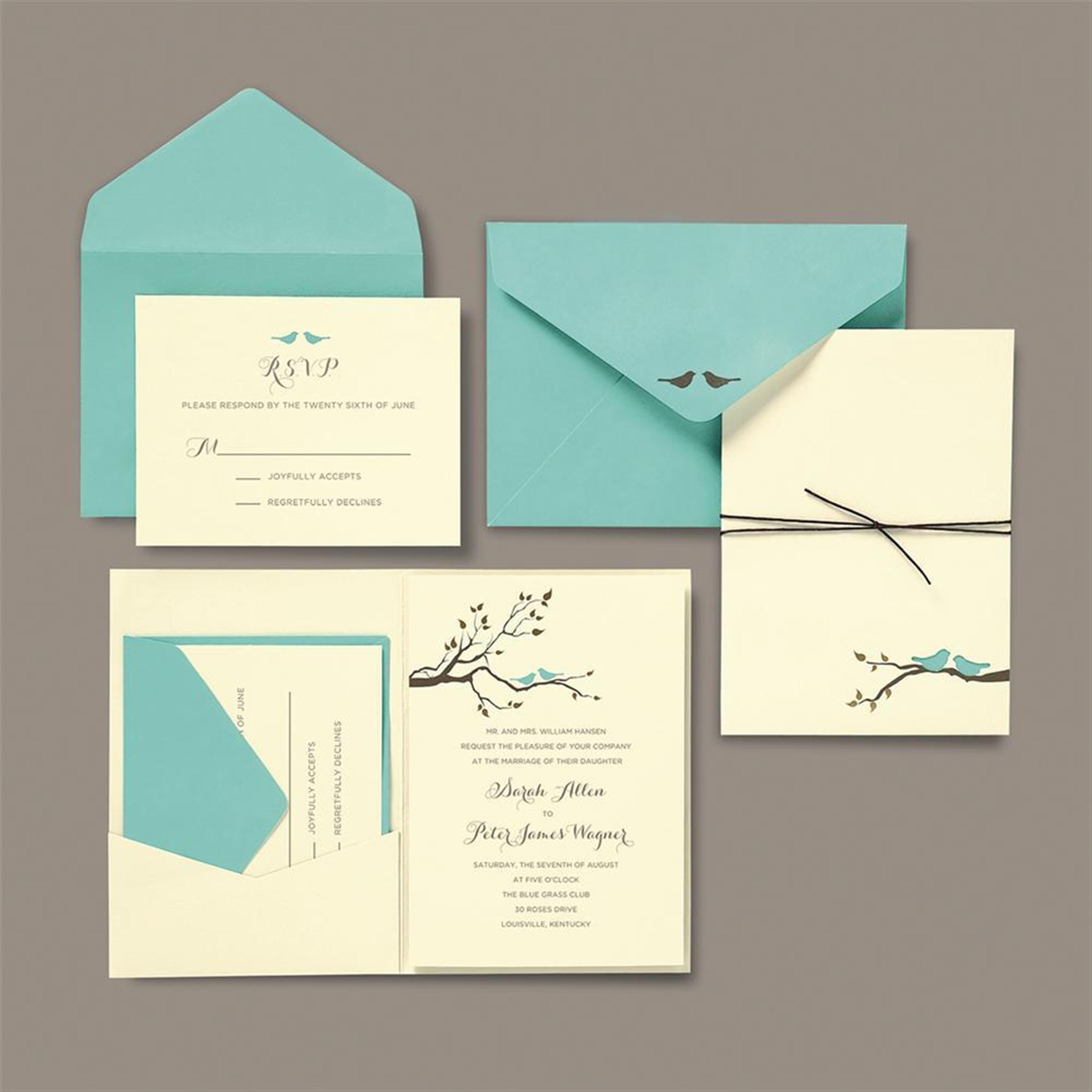 BRIDES® Love Birds Pocket Wedding Invitation Kit