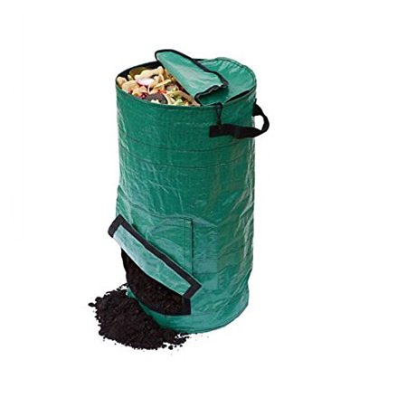 Mr Garden 25L Gardening Lawn and Leaf Bags - Collapsible Canvas Portable Yard Waste Bag Compost Bin, Dark Green - Leaf Bags For Halloween