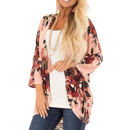 Womens Floral Print Loose Puff Sleeve Kimono Cardigan Cover Up Blouse