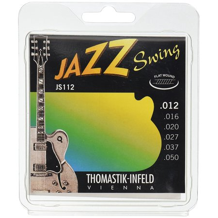 Thomastik-Infeld JS112 Jazz Guitar Swing Series 6 String Set - Pure Nickel Flat Wounds E, B, G, D, A, E Set, Used by Students and Professionals around the world By ThomastikInfeld From USA