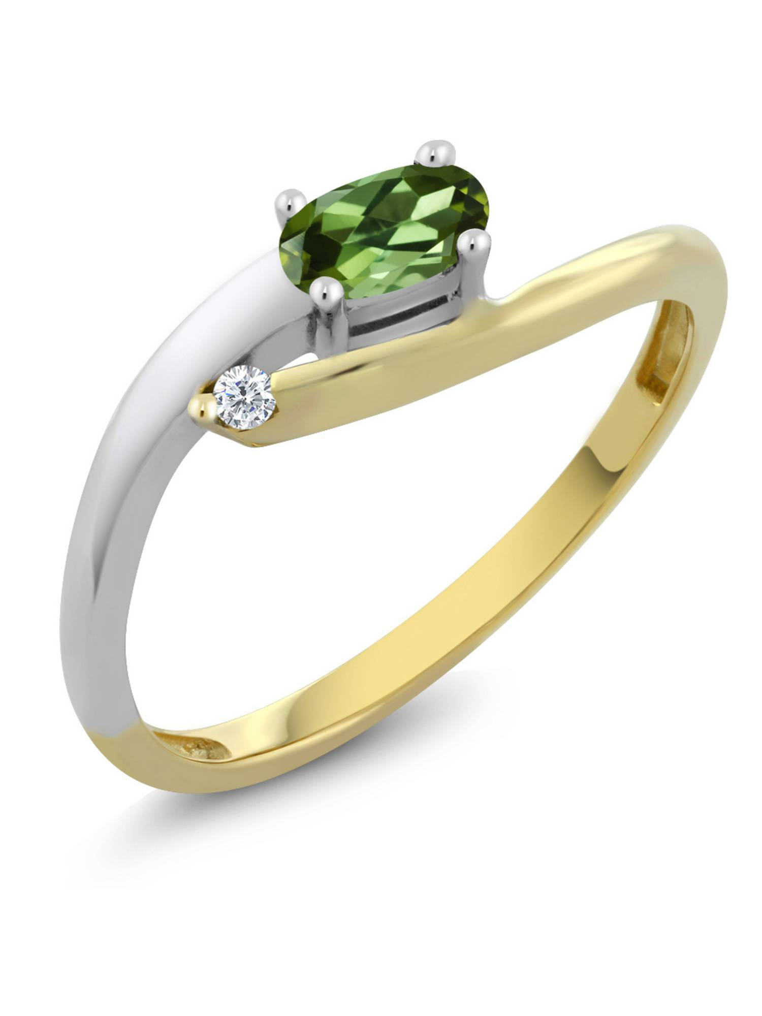 18K Two Tone Gold Oval Green Tourmaline with Diamond Accent Ring by