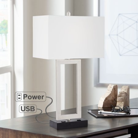 possini euro design modern table lamp with usb and ac power outlet in base steel open rectangle white shade for bedroom office